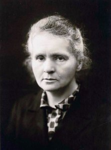 Black and white portrait of Marie Curie