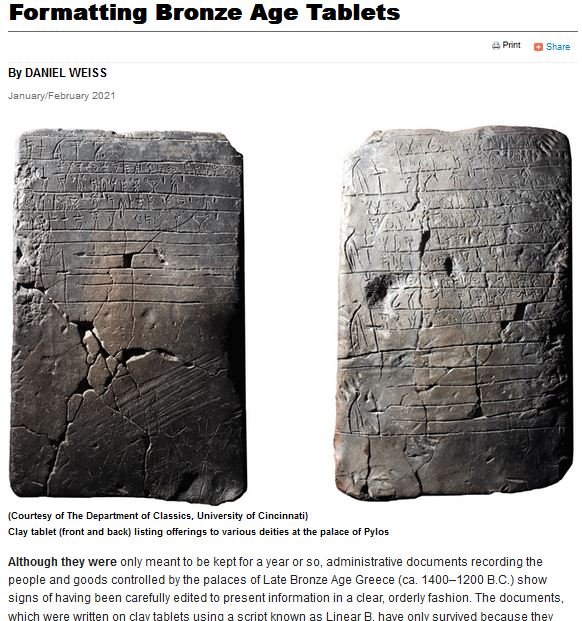 "Screenshot of article entitled ""Formatting Bronze Age Tablets"", by Daniel Weiss, showing large picture of front and back of clay Linear B tablet"